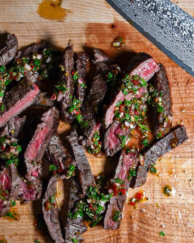 skirt steak with calabrian chili chimichurri
