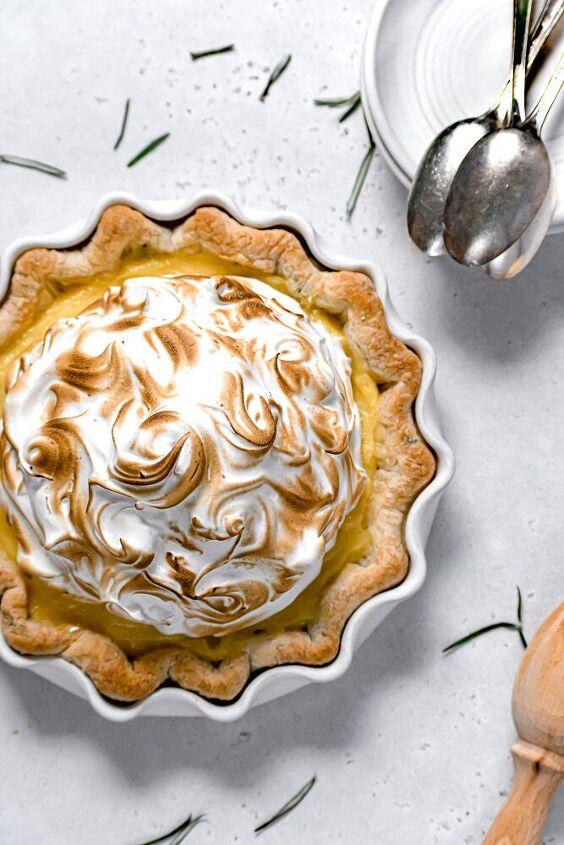 lemon meringue pie with fresh rosemary crust