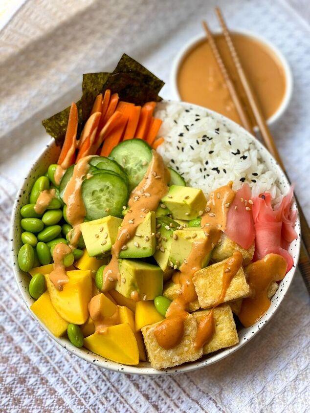 vegan pok bowl with white miso sriracha tahini sauce