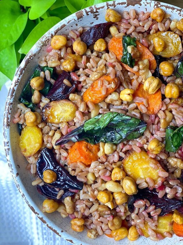 farro bowl with roasted root veggies and date dijon balsamic dressing