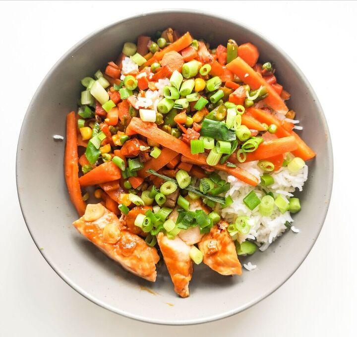 teriyaki salmon with limey rice