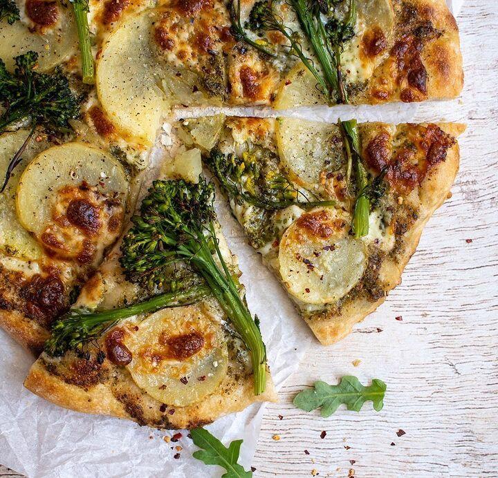 arugula pesto pizza with broccolini potato and red chili