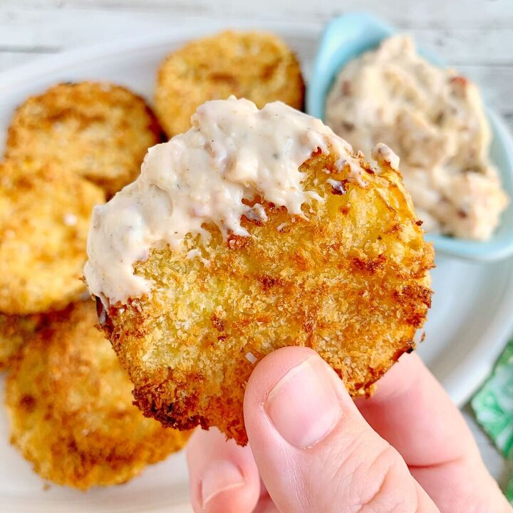 air fried green tomatoes with bacon aioli