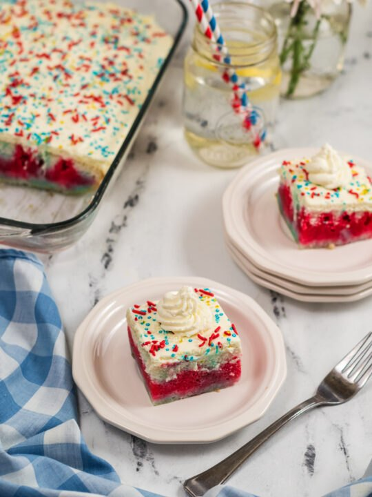 make this easy red white and blue jello poke cake for your summer part
