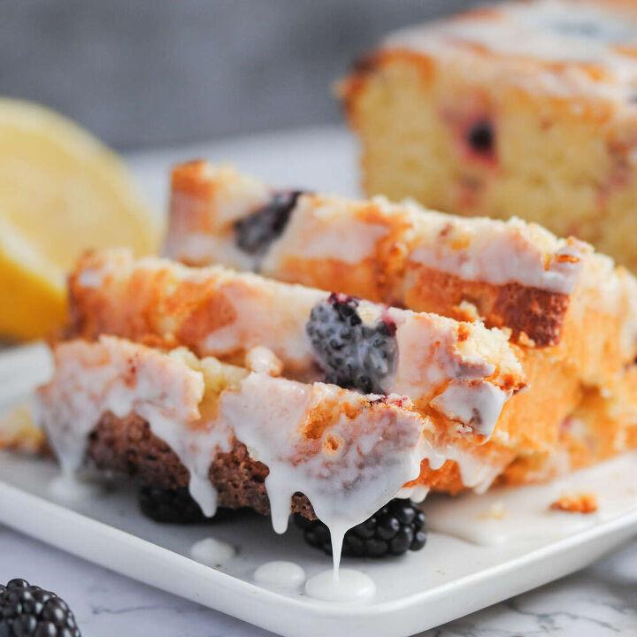 moist blackberry lemon bread with glaze