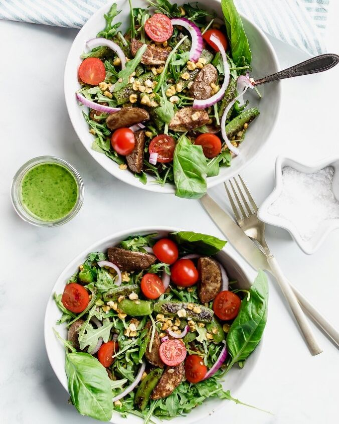 farm stand salad with basil vinaigrette