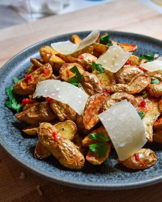 crispy potatoes with calabrian chili vinaigrette
