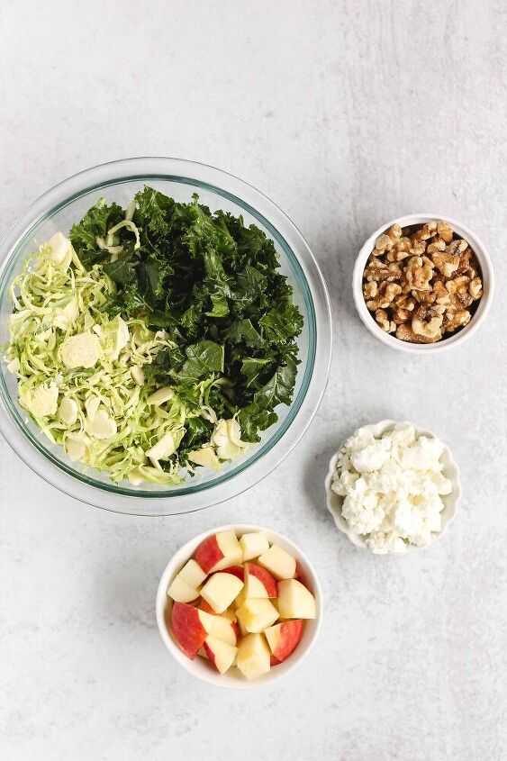 kale and brussels sprouts salad with maple vinaigrette