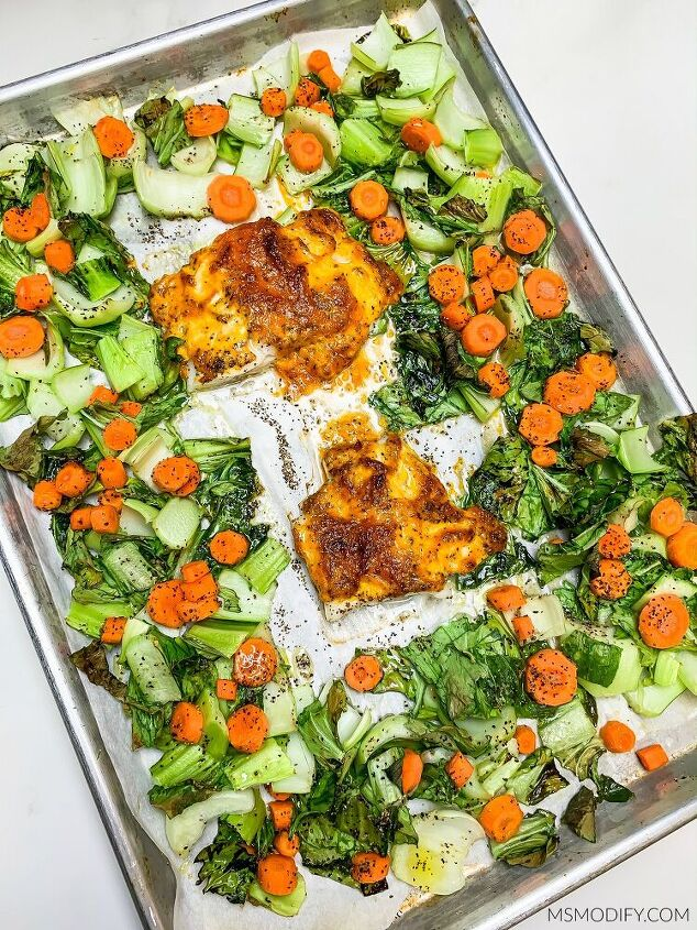sheet pan cod bok choy carrots