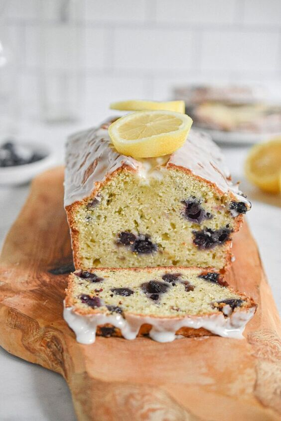 lemon and blueberry zucchini bread with lemon icing