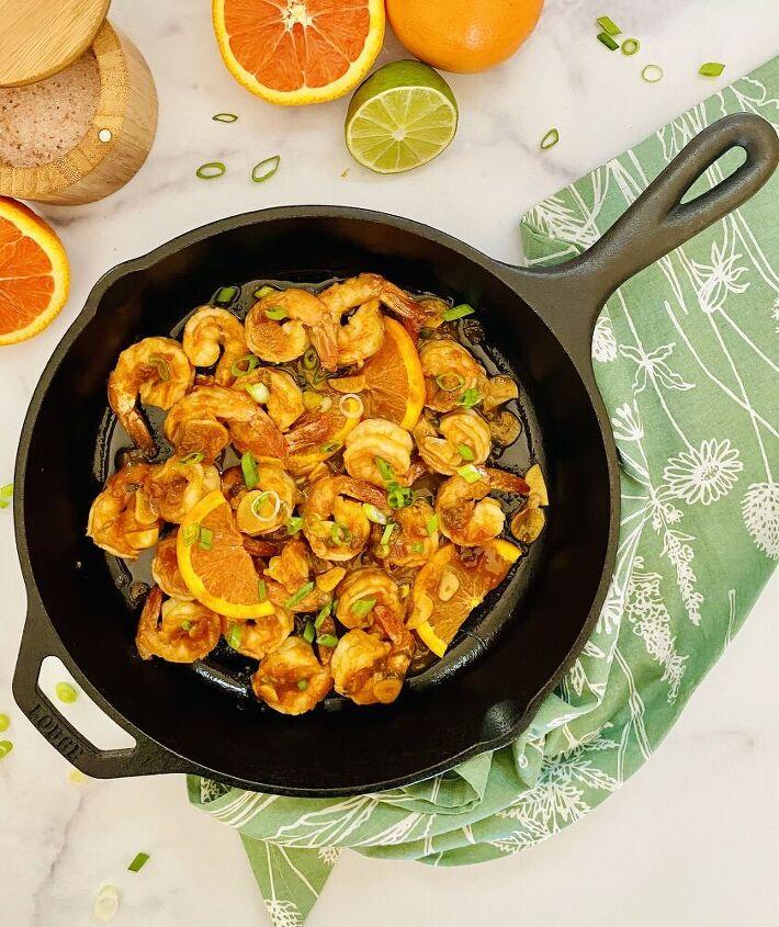 cara cara orange sriracha glazed shrimp skillet