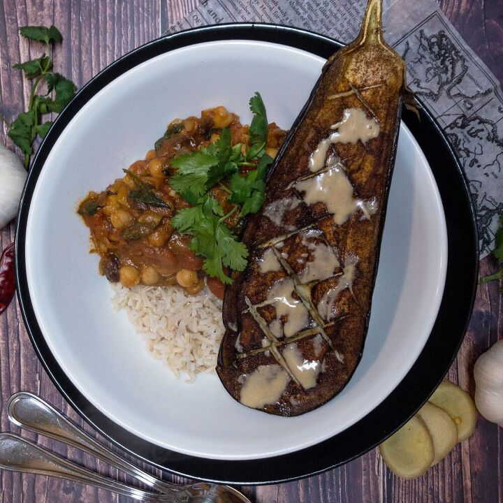 moroccan baked aubergine chickpea stew