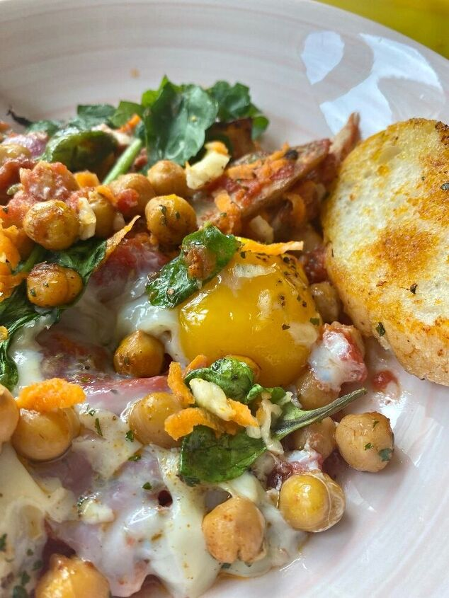 deluxe shakshuka with roasted potato wedges crunchy chickpeas