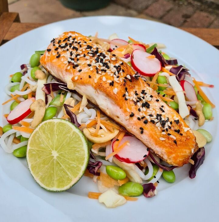 pan fried salmon with crunchy asian noodle salad