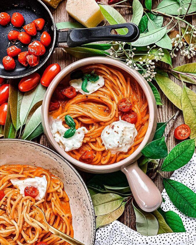creamy pasta pomodoro with mozzarella di bufala
