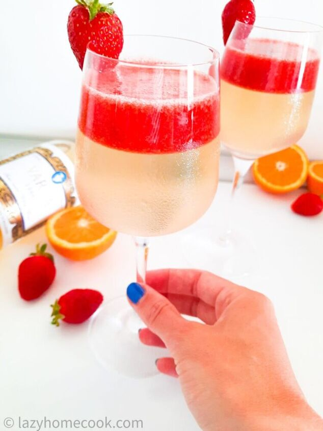 sweet white wine jelly with a fresh strawberry sauce