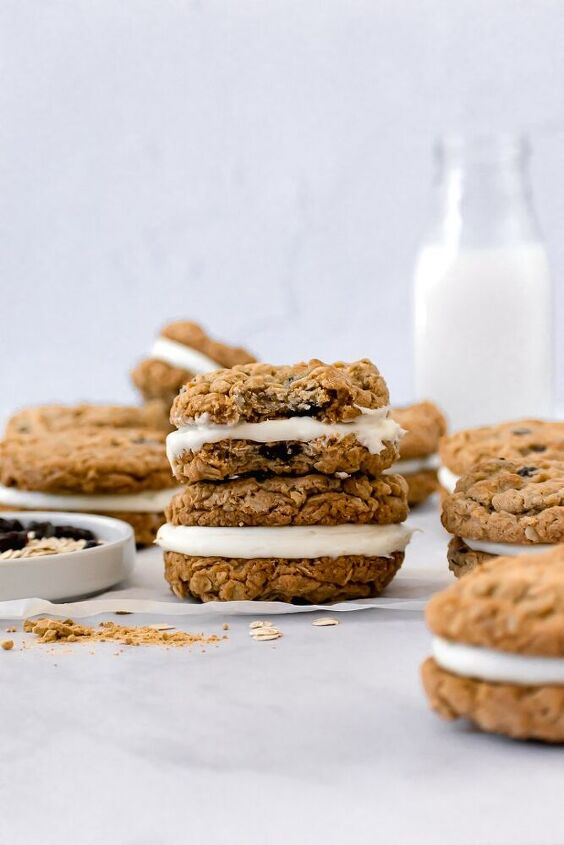 ginger dried cherry and toasted oat sandwich cookies