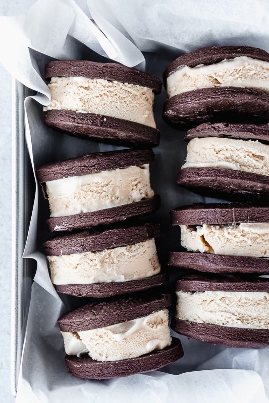 dark chocolate mocha ice cream sandwiches