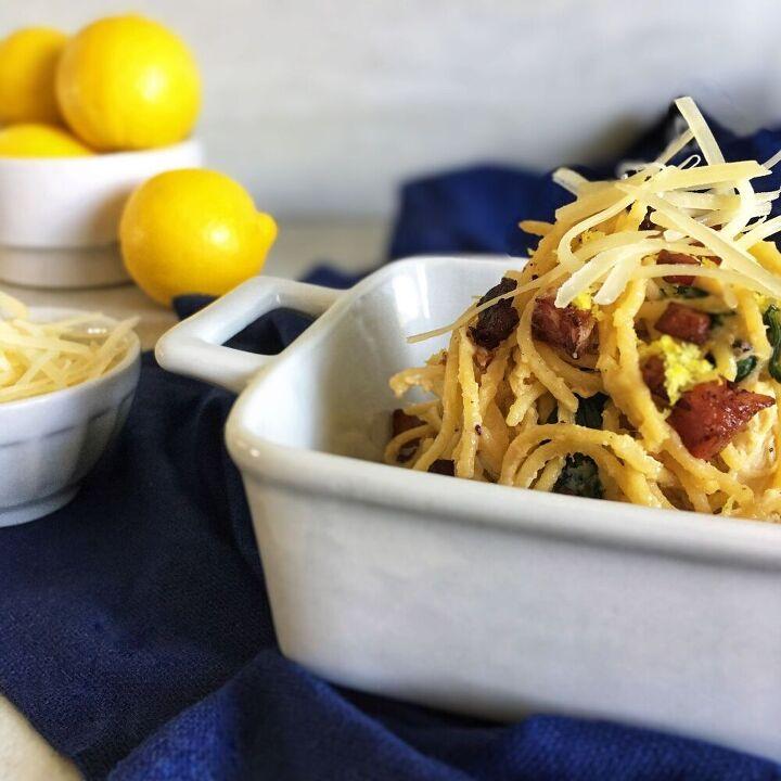 creamy lemon ricotta pasta with spinach and crispy pancetta