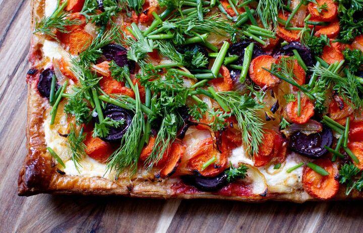garden veggie ricotta gruyere flatbread