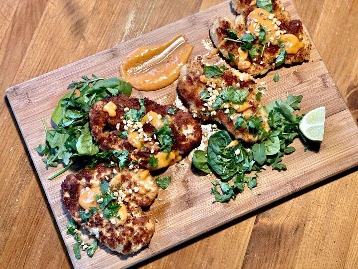 chicken schnitzel with bang bang sauce