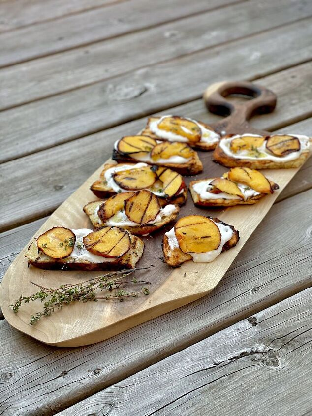whipped ricotta on crostini with grilled peaches