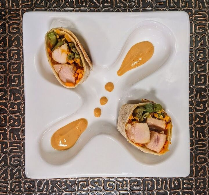 grilled chicken wrap with spicy peanut sauce