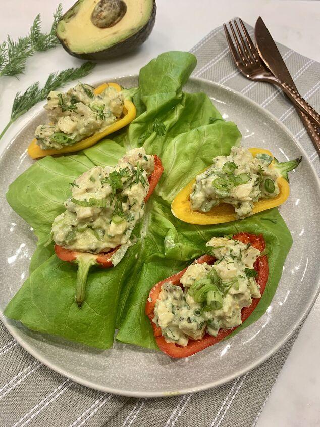 s 10 delicious mayo free chicken salads, Avocado Chicken Salad Boats