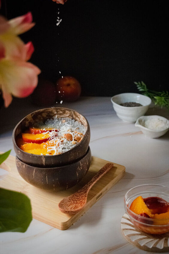 chia pudding with caramelized peach