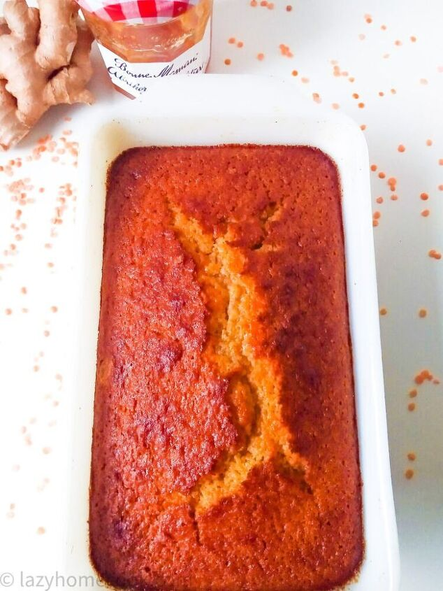 sweet polenta cake with red lentils and apricot jam loaf cake