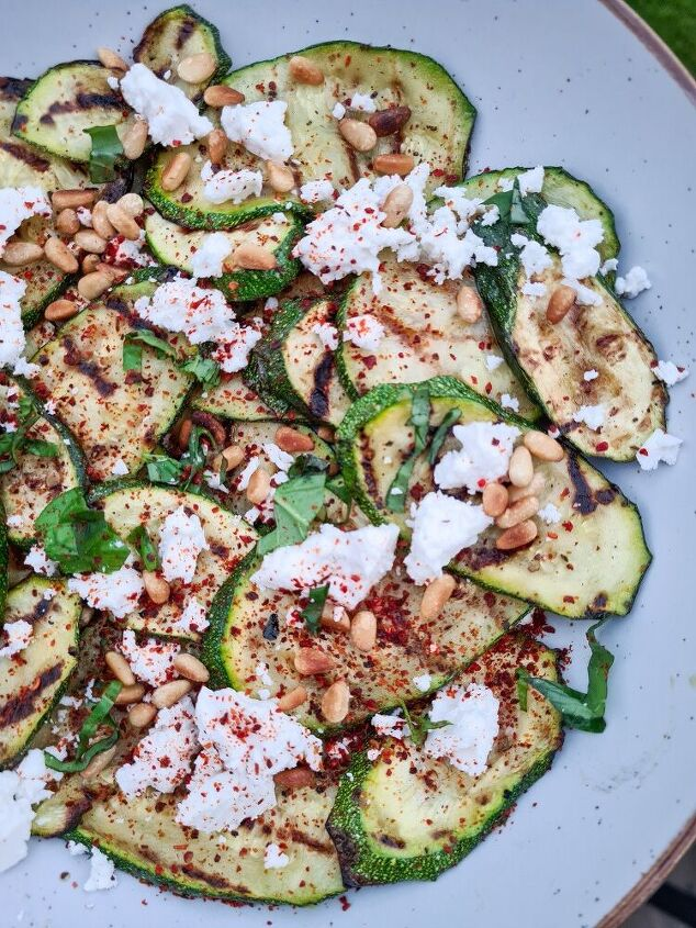 griddled courgettes with goats cheese basil and toasted pinenuts