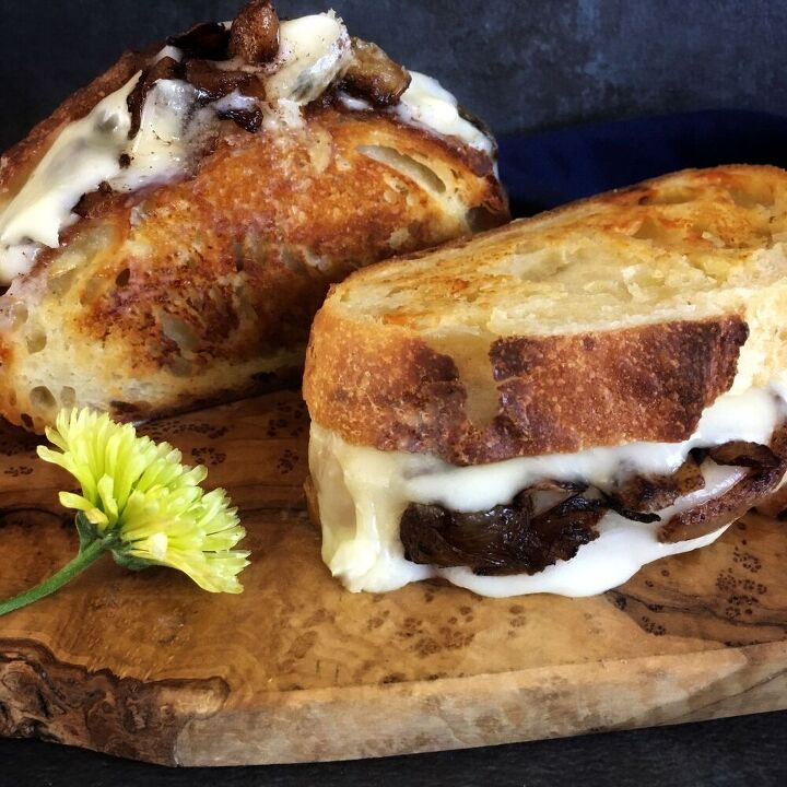 adult grilled cheese with cinnamon caramelized onions