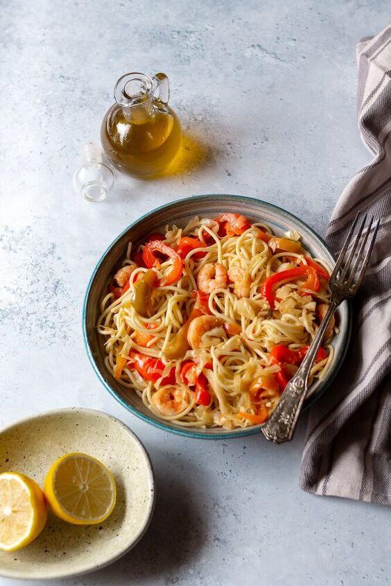 shrimp pasta with vegetables