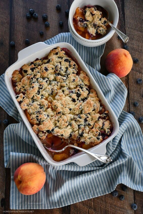 peach cobbler with blueberry drop biscuit topping