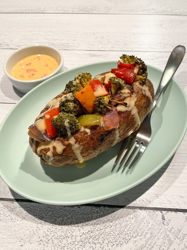 roasted veggie loaded baked potato