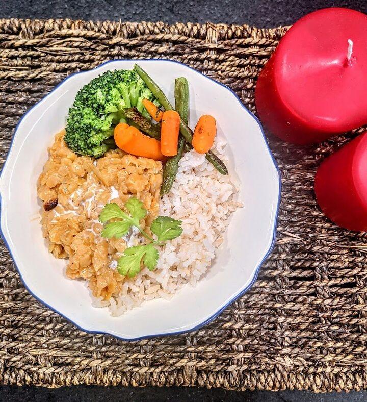 vegan coconut red lentil curry