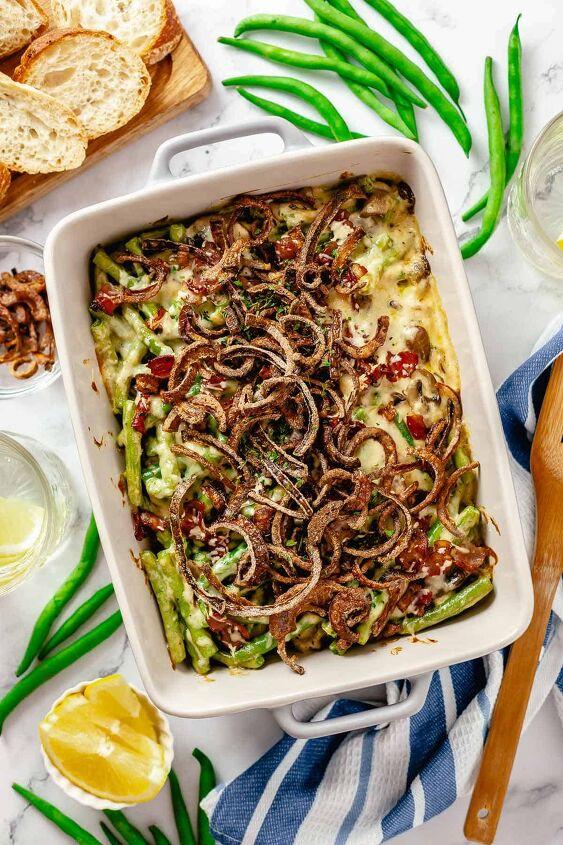 cheesy green bean casserole with bacon