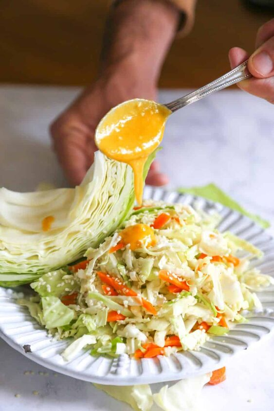 detox cabbage and carrot salad with ginger miso dressing vegan