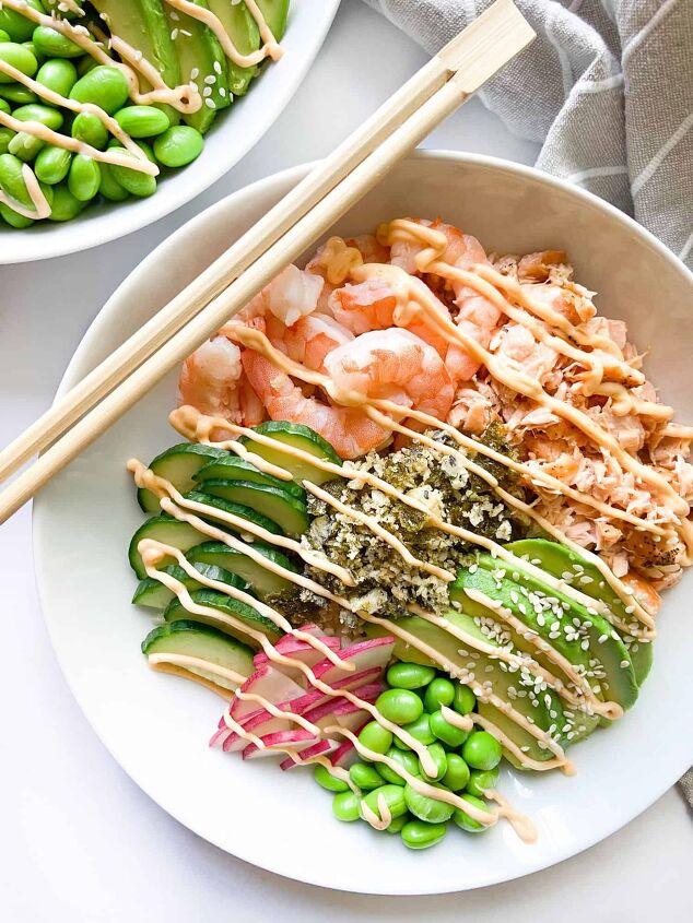 poke bowl recipe with shrimp and salmon