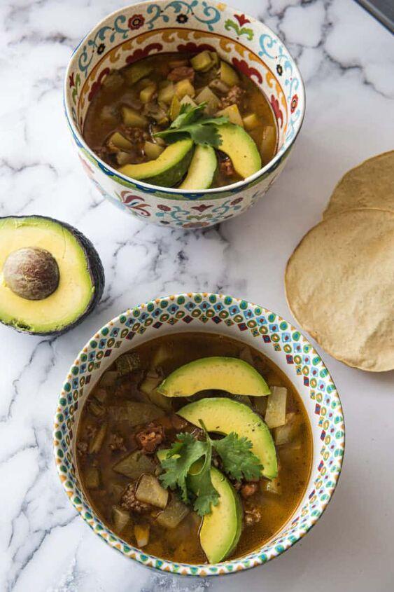 chorizo beef zucchini soup