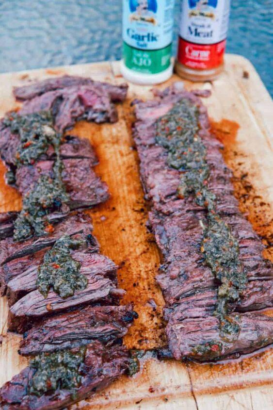 mojo skirt steak with chimichurri sauce