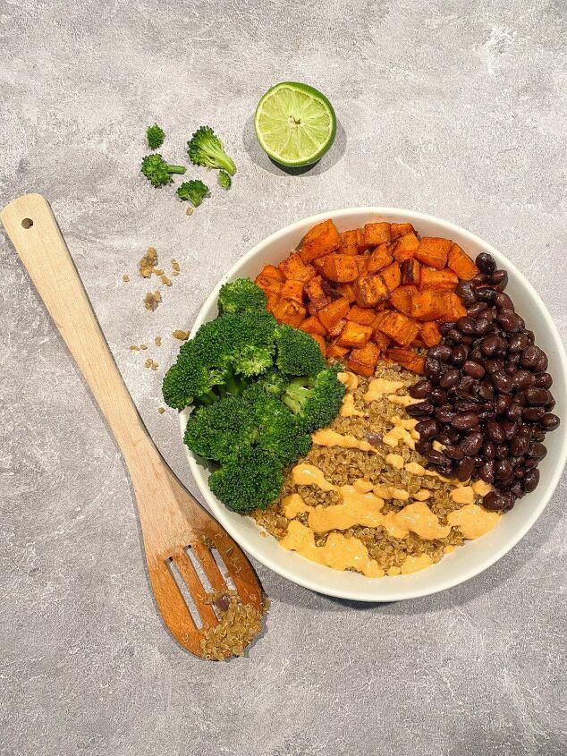 spicy vegan taco bowl with cashew cheese sauce happy honey kitchen