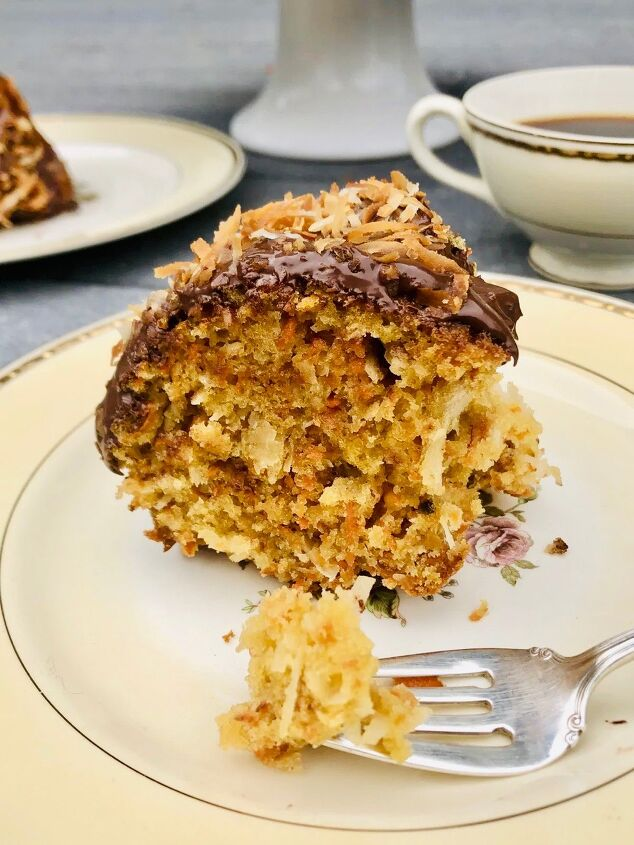 coconut carrot cake with chocolate and coconut glaze