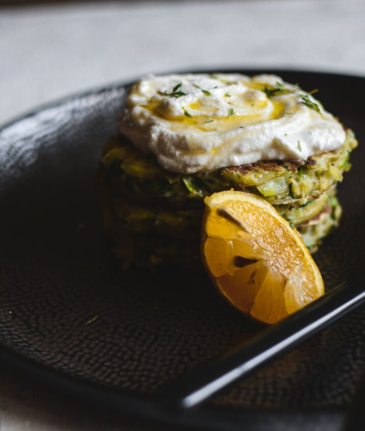 courgette fritters with honey thyme ricotta cream