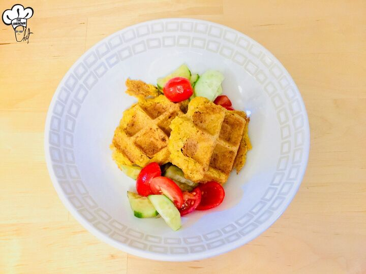 falafel waffle with tomato salad