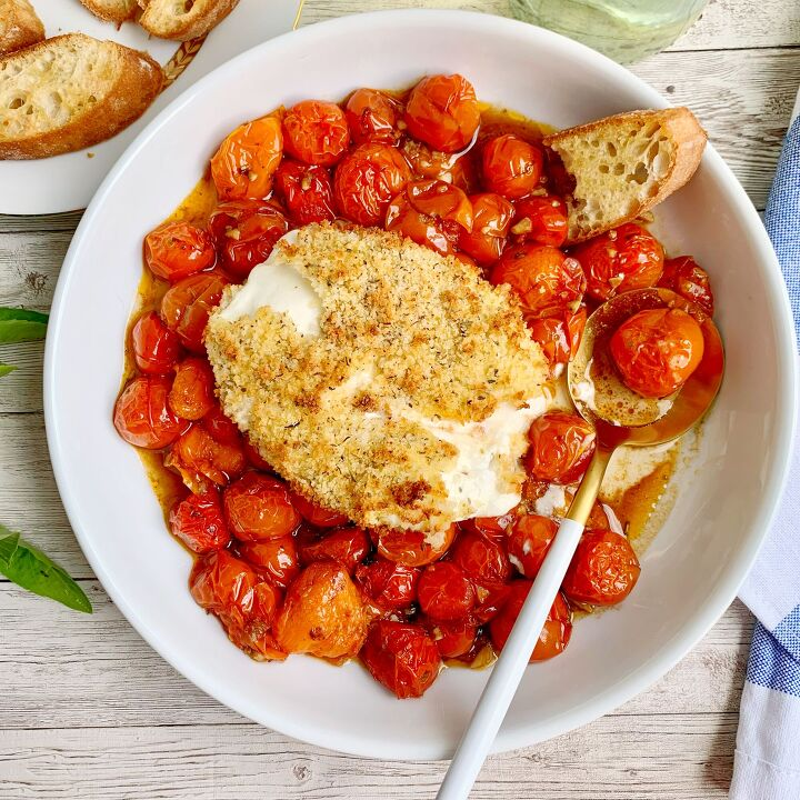 air fried burrata with jammy tomatoes